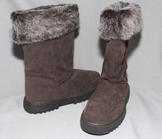 Rampage Women's Faux Suede & Fur 'Allie' Brown Boots Convertible 2 in 1  Size 7 #Rampage #SnowWinter