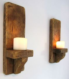 PAIR OF 39CM RUSTIC SOLID WOOD HANDMADE SHABBY CHIC WALL SCONCE CANDLE HOLDER