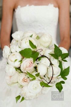 Gorgeous Bridal Bouquet Featuring: White Peonies, White Roses, White Ranunculus, Light Pastel Pink Roses, & Green Foliage^^^^