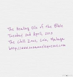 The Healing Oils of the Bible Workshop   Come share, learn and enjoy these wonderful Young Living essential oils. #holistic therapies