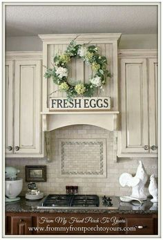 Country kitchen...like this color combination.