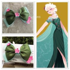 Elsa frozen fever inspired hair bow by Dreamloveandbows on Etsy