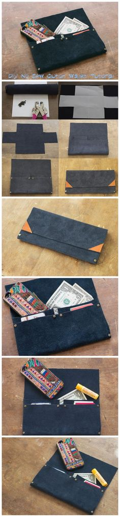 Diy No Sew Clutch Wallet Tutorial It is no secret I love a good do-it-yourself project that involves power tools or a sewing machine. Diy Clutch, Diy Purse, Clutch Wallet, Diy Handbag, Sewing Hacks, Sewing Tutorials, Sewing Projects, Sewing Patterns, Diy Wallet