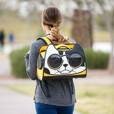 backpack cat carrier - Adorable cartoon kitten & sunglasses make the pet carrier windows. cat stuff, cute cats, cute cats, black cat, white cat, cat lady humor, lol cats, cat lover gifts, meow, kawaii fashion, unique purses. This is an affiliate link.