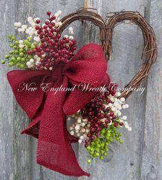 Valentine Wreath Heart Wreath Berries Burlap by NewEnglandWreath, $79.00
