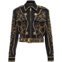 Versace Stud Embellished Jacket (30.510 RON) ❤ liked on Polyvore featuring outerwear, jackets, versace, versace jacket and studded jackets