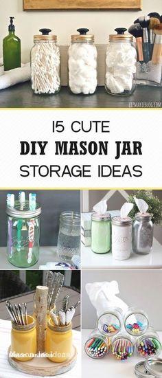 Diy Organizer, Diy Organization, Organizing Life, Organizing Ideas, Mason Jar Projects, Mason Jar Crafts, Mason Jar Diy, Pickle Jar Crafts, Jelly Jar Crafts