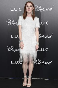 Julianne Moore in a white beaded and feathered Givenchy dress at Cannes 2018