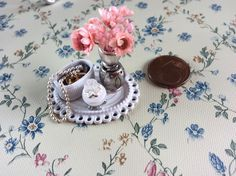 Miniature Vanity Tray Jewelry box pink Flowers in vase Dollhouse Perfume 1:12 Scale  Handmade Dollhouse Decor Supplies by GugasMiniPlace on Etsy