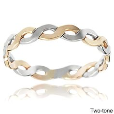 Journee Collection Sterling Silver Handcrafted Twisted Band (Gold- 9), Women's, Yellow