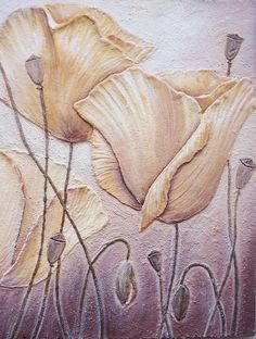 Panel Fresco Yellow Poppies (detail)