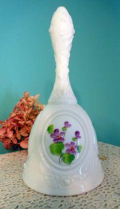 Fenton Milk Glass Vintage Bell Violets in the Snow Shabby Chic Wedding Decor
