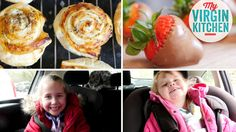 Some road trip snacks my girls enjoy - pizza wheels and chocolate coated strawberries!