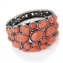 Burnished Silver Colour Coral Colour Bead Hinge Bangle