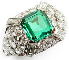 emerald, diamond, emeralds, diamonds, jewelry, rings, cocktail rings, gemstone, engagement, retro, vintage, Mad Men,