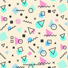 Retro Memphis Geometric Pattern Art Print by Rose Gold - X-Small Geometric Patterns, Shape Patterns, Geometric Shapes, Print Patterns, 90s Pattern, Pattern Art, Pattern Design, Conception Memphis, Photos Hd