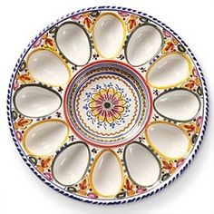 Hand-Painted Deviled Egg Dish From Spain in Early Spring 2013 from Artisan Table on shop.CatalogSpree.com, my personal digital mall.