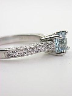 Antique Style Aquamarine Filigree Engagement Ring