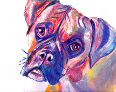 Canvas Boxer Dog Print of Original Painting Dark Blue Orange and warm ...