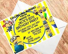 Calling todos los Minions invita invitaciones Fiesta de cumpleaños tarjeta de 250gsm (A61(Sample))