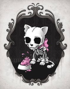 Bone Kitty Mini Art Print by Aleksandra Marchocka - Without Stand - x Art And Illustration, Fantasy Kunst, Fantasy Art, Gothic Kunst, Desenhos Halloween, Arte Obscura, Goth Art, Arte Horror, Skull Tattoos