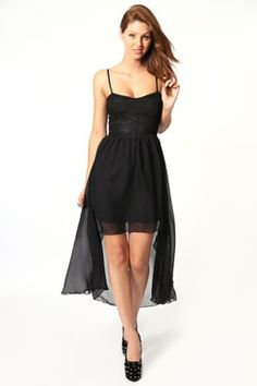 Debra Lace Top Chiffon Mixi Dress from Boohoo.com