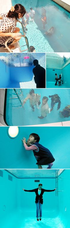 Leandro Erlich In one of the 21st Century Museum of Art (Kanazawa, Japan) courtyards is a swimming pool framed by a limestone deck. When seen from the deck, the pool appears to be filled with deep, shimmering water. In fact, however, a layer of water only some 10 centimeters deep is suspended over transparent glass. Below the glass is an empty space with aquamarine walls that viewers can enter.