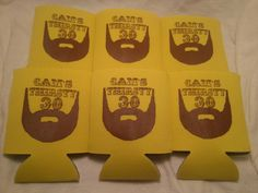 30th Birthday koozies design 111189146 Beard personalized custom can party favor - Stock Art Available