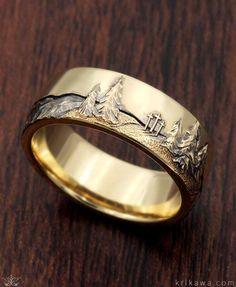 Mountain Wedding Band with a hand-carved mountain range! Choose your favorite mountain scene and we will hand-carve it into your wedding band!