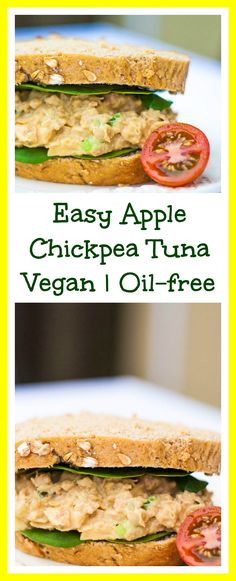 Super Quick and Easy Apple Chickpea Tuna! Oil-free and Vegan.