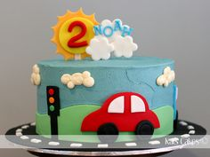 I love Wheels cake car cake – Grant's b-day? Cars Theme Cake, Car Cakes For Boys, Car Cake Toppers, Bus Cake, Wheel Cake, Party Fiesta, Baby Birthday Cakes, 2nd Birthday, Birthday Cake With Candles