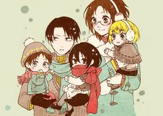 Levi and Hanji with baby Eren, Mikasa, and Armin - AoT