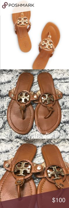 Tory Burch Miller 2 Brown Leather Sandals Okay used condition.   Leather is starting to peel a little from wear. Paint mark on the front of one of the flats. Tory Burch Shoes Sandals