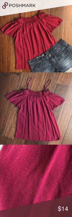 Off The Shoulder Festival Summer/Spring Top This beautiful off the shoulder top is perfect for any festival or the upcoming summer season. Worn once and in excellent condition! Perfect with shorts (the Madewell shorts in the picture are also for sale in my closet) or jeans. Last picture shows the best representation of the color of the top. It is more of a purple/red! ***Tagged American Eagle for exposure*** American Eagle Outfitters Tops Blouses