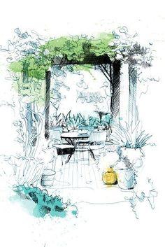 Landscape design principles for residential gardens via Garden Design Magazine. Garden Arbor Drawing David Despau. #ResidentialLandscape #LandscapeSketch