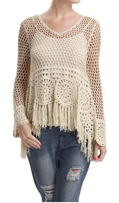 Crochet Fringe Sweater with Tie Back - Natural: