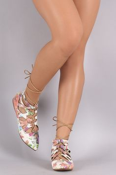 Floral Print Caged Lace Up Pointy Toe Flat