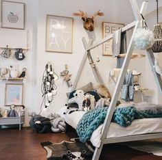 Teepee Bed with Lifted Base – Klein Poppedyn Baby Bedroom, Baby Room Decor, Nursery Room, Girl Room, Girls Bedroom, Rooms Decoration, Teepee Bed, Baby Room Design, Trendy Bedroom