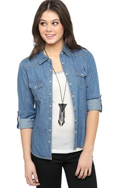 Snap Button Front Chambray Shirt with Rolled Sleeves