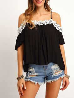 Shop Black Cold Shoulder Lace Loose Top online. SheIn offers Black Cold Shoulder Lace Loose Top & more to fit your fashionable needs.