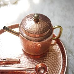 India Imported Copper Rose Gold Hammer Pattern Handmade Tray / Tea Tray / Bowl / Cup Teapot Decoration / Nordic Style