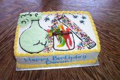 Mad Science Birthday cake with gummy worms.