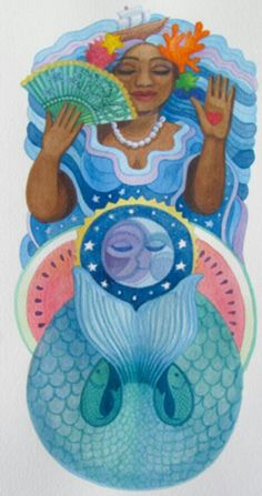 Yemanja by Jan Brown Checco-YEMAYA IS OFTEN DEPICTED AS A MERMAID, OR SIMPLY A BEAUTIFUL WOMAN STANDING AMIDST THE WAVES, AND HER COLORS ARE BLUE AND WHITE. YEMAYA WEARS A DRESS WITH SEVEN SKIRTS THAT REPRESENT THE SEVEN SEAS. SACRED TO HER ARE PEACOCKS, WITH THEIR BEAUTIFUL BLUE-GREEN IRIDESCENCE, AND DUCKS. YEMAYA'S NUMBER IS 7, FOR THE SEVEN SEAS.