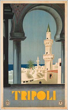 1930s Tripoli , vintage travel poster