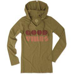 Women's Good Vibes Block Long Sleeve Hoodie Tee | Life is Good® Official Site