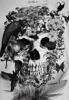 Black and White creepy flowers skull morbid raven Macabre gothic art humming bird dark art illistration human skull skull art creepy beautiful