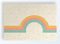 "arc geometric wall art 70s vibes ""dreamscape"" in aqua, pink and yellow-orange. by Tramake on Etsy"