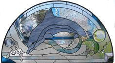 stained glass windows with ocean and dolphins Stained Glass Designs, Stained Glass Panels, Stained Glass Projects, Stained Glass Patterns, Leaded Glass, Mosaic Patterns, Stained Glass Art, Art Patterns, Mosaic Art