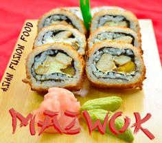 Palta Roll: Sushi relleno de camarones, mayonesa japonesa, aguacate y ajonjolí. Sushi Love, Fusion Food, Relleno, Asian, Ethnic Recipes, Avocado, Mayonnaise, Asian Cat