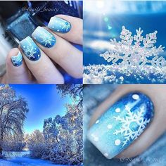 Winter ombre blue snowflake nail art design